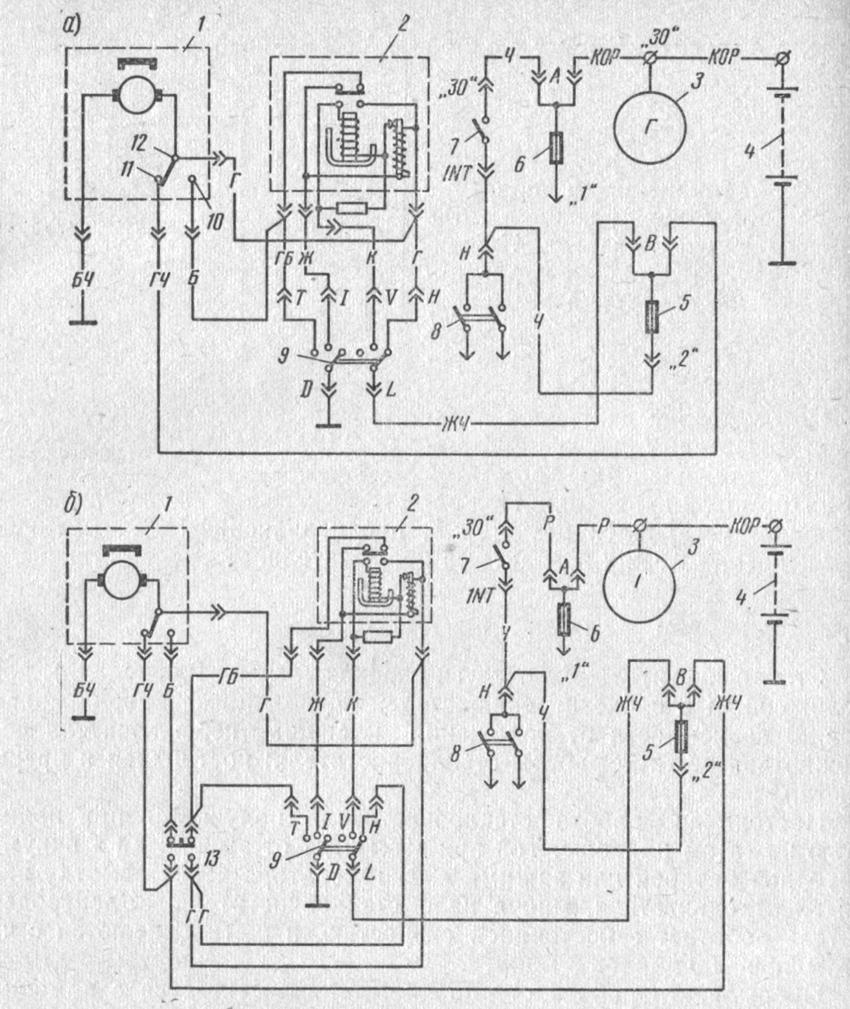 электрол схема подкулючения дворников на ваз