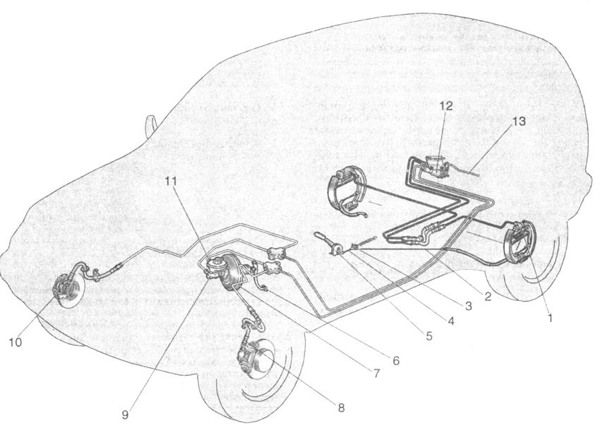 Схема тормозной системы: 1