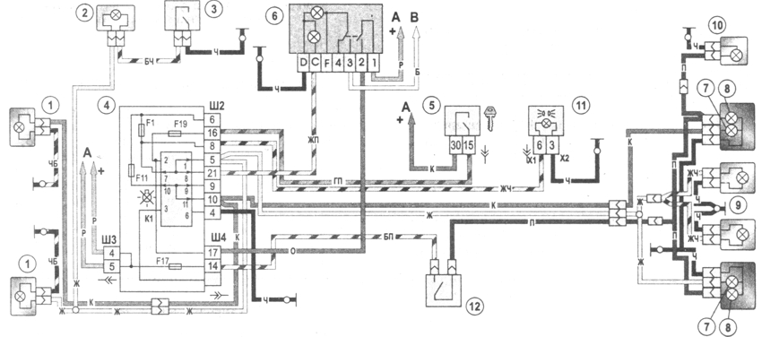 Рис. 7-20. Схема включения наружного освещения: 1 - лампы габаритного света в блок-фарах; 2 - лампа подкапотная; 3 - выключатель подкапотной лампы; 4 - монтажный блок; 5 - выключатель зажигания; 6 - переключатель наружного освещения; 7 - лампы габаритного света в задних фонарях; 8 - лампы стоп-сигнала в задних фонарях; 9 - дополнительный сигнал торможения; 10 - фонари освещения номерного знака; 11 - контрольная лампа включения наружного света в комбинации приборов; 12 - выключатель стоп-сигнала; К1 - реле контроля исправности ламп (внутри реле показаны контактные перемычки, которые должны устанавливаться при отсутствии реле); А - к источникам питания; В - к лампам освещения приборов