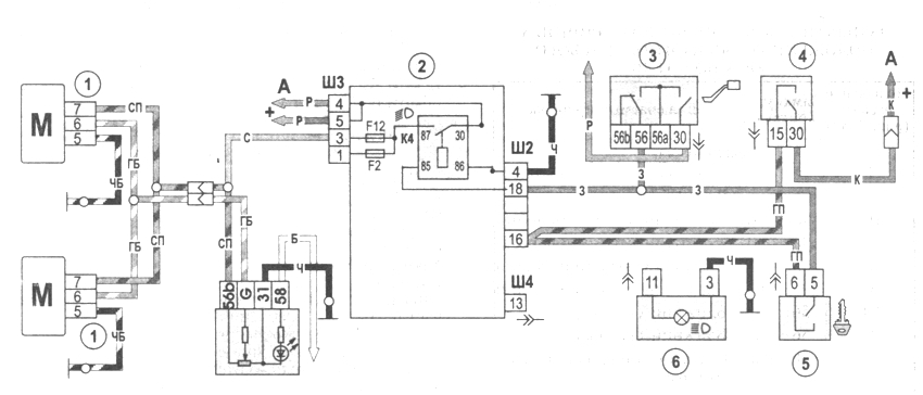 Рис. 7-29. Схема включения корректоров света фар: 1 - моторедуктор корректора света фары; 2 - монтажный блок; 3 - переключатель света фар; 4 - выключатель зажигания; 5 - переключатель наружного освещения; 6 - регулятор коррекции света фар; К4 - реле включения ближнего света фар; А - к источникам питания; В - к регулятору освещения приборов