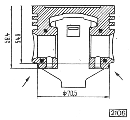 Рис. 2-30. Схема удаления металла с поршня для подгонки его веса. Стрелками указаны места, на которых можно удалять металл