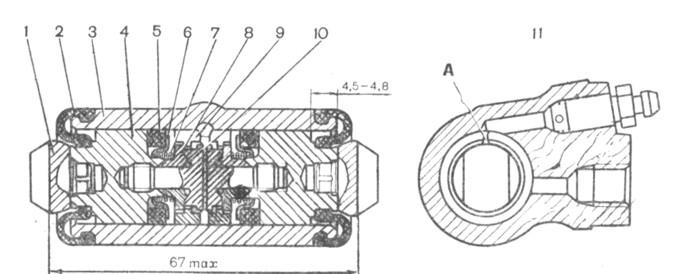 Рис. 6-17. Колесный цилиндр: 1 - упор колодки; 2 - защитный колпачок; 3- корпус цилиндра; 4- поршень; 5 - уплотнитель; 6 - опорная чашка; 7 - пружина; 8 - сухари; 9 - упорное кольцо; 10 - упорный винт; 11 - штуцер; А - прорезь на упорном кольце