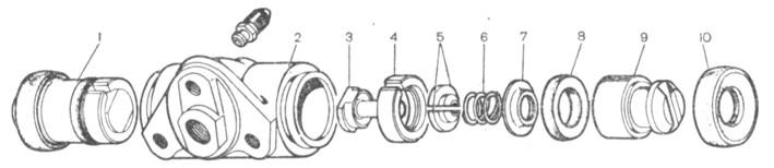 Рис. 6-20. Детали колесного цилиндра с автоматическим устройством: 1- поршень в сборе; 2- корпус цилиндра; 3 - упорный винт; 4- упорное кольцо; 5 - сухари; 6 - пружина; 7 - опорная чашка; 8 - уплотнитель; 9 - поршень; 10 - защитный колпачок
