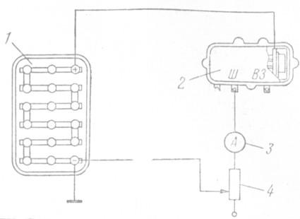 Рис. 81. Схема проверки правильности регулировки реле защиты: 1 - аккумуляторная батарея; 2 - реле-регулятор; 3 -амперметр; 4 - реостат