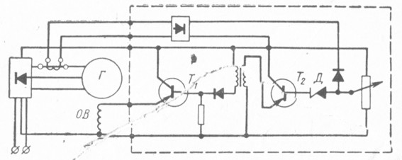 Рис. 22. Транзисторный регулятор генератора переменного тока