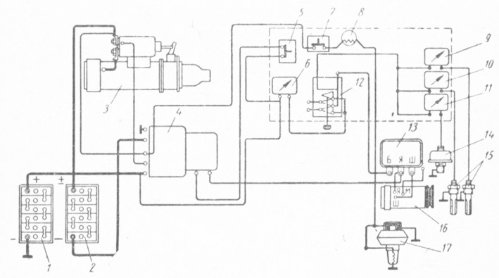 Электросхема зарядки аккумулятора генератором