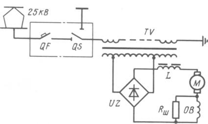 Рис. 10. Упрощенная силовая схема электровоза переменного тока